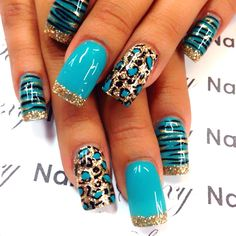 nail tips videos Display Funky Nails, Blue Nails, Nails Turquoise, Turquoise Nail Designs, Colorful Nail Designs, Cute Nail Designs, Cheetah Nail Designs, Nail Designs 2014, Diy Nails