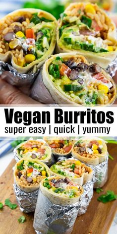 This vegan burrito is stuffed with brown rice, black beans, corn, vegan sour cream, and guacamole. Vegan burritos are the perfect comfort food. And they're so easy to make! Make them for a simple weeknight dinner. Find more vegan recipes at. Tasty Vegetarian Recipes, Vegan Lunch Recipes, Veggie Recipes, Mexican Food Recipes, Whole Food Recipes, Chicken Recipes, Healthy Food Recipes, Soup Recipes, Vegan Vegetarian