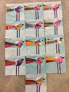 Mary Lou Weidman bird swap blocks. Idea in her Flower Power book.