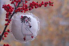 Christmas, gift for her, gift for him, holidays, gifts, Сlara ballerina (Nutcracker) embroidered Christmas ornament / Handmade Christmas tree decoration / Cute Xmas Decor