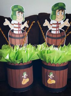 This listing is for ONE Centerpiece. The Theme is El Chavo del Ocho. We also have the Banner, Popcorn Cups, Mini Gable boxes and more available Birthday Party Centerpieces, 4th Birthday Parties, Diy Party Decorations, Party Themes, Party Ideas, Bday Girl, Mexican Party, Baby Party, First Birthdays