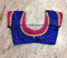 Blue color raw silk designer blouse with fuchsia pink color patch on the sleeves and around the neck. Simple sequins adorned and gold wor. Patch Work Blouse Designs, Simple Blouse Designs, Stylish Blouse Design, Blouse Simple, Pattu Saree Blouse Designs, Blouse Designs Silk, Saree Blouse Patterns, Designer Blouse Patterns, Exclusive Collection
