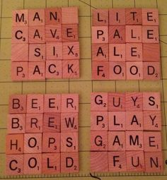 Scrabble Coasters Man Cave Edition set of 4 by on Etsy Scrabble Pieces Crafts, Scrabble Letter Crafts, Scrabble Coasters, Scrabble Tile Crafts, Scrabble Letters, Tile Coasters, Diy Gift For Bff, Coaster Crafts, Man Cave Diy