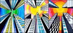 Buildings in one point perspective Perspektive . Buildings in one point perspective Perspektive Me Landscape Art Lessons, Middle School Art Projects, Art School, School Ideas, 7th Grade Art, Creation Art, Toddler Art Projects, Fun Projects, Perspective Art