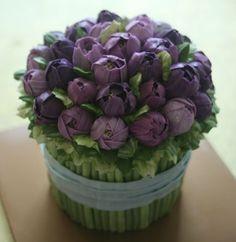 Buttercream Purple tulip bouquet