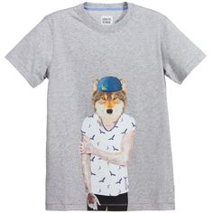 Armani Boys Grey Cotton T-Shirt with Wolf-Man Print at Childrensalon.com