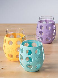 Easy-Grip Drinking Glasses = protection from breakage when on the road, plus you aren't drinking from plastic!