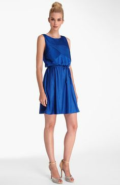 Catherine Catherine Malandrino 'Molly' Shift Dress available at #Nordstrom, azure blue, super cute with a top knot and nude sandals