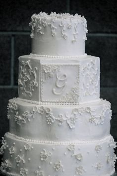 All white wedding cake in Raleigh NC Raleigh weddings