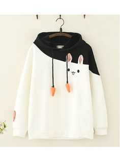 Kawaii Rabbit Carrot Cotton Fleece Hoodie - Product ID: CottonSleeve Length: LongSeason: Spring, Autumn, WinterColor: White, Pink - Teen Fashion Outfits, Mode Outfits, Casual Outfits, Fashion Dresses, Kawaii Clothes, Kawaii Outfit, Kawaii Fashion, Cute Fashion, Fashion Spring