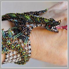Green Dragon Bracelet - Baby Dragon Fantasy Beaded Cuff. $ 1,275.00, via Etsy.