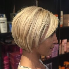 Short Blonde Bob With Side Bangs
