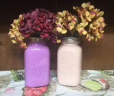 Set of 2 painted mason jars painted jars pencil holder makeup holder lilac jar pink jar pastel jars home decor ball mason jar girl (16.00 USD) by jenascreations45