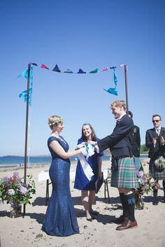 A Barefoot Bride And Her Blue Lace Wedding Dress For A Heart Warming Humanist Ceremony By The Sea