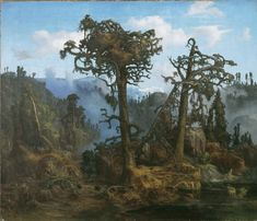 Lars Hertervig (Norwegian, Old Pine Trees, oil on canvas, 64 x cm, Museum Stavanger Fantasy Landscape, Landscape Art, Landscape Paintings, Stavanger, Forest Scenery, Art Graphique, Romanticism, Impressionism, Illusions