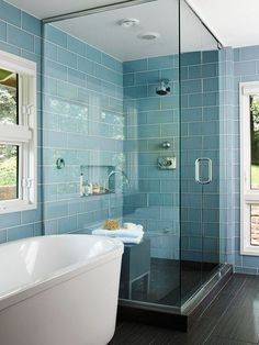 Blue subway tile, natural light, glass shower, and dark flooring. I love this- its the perfect mix of modern and traditional, and it also brings the outdoors in with the windows.