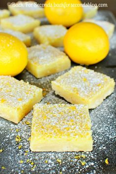 Hmmmm I really hope these are the best.The Best Ever Lemon Bars - SERIOUSLY. Look no further, these are the best! Lemon Desserts, Lemon Recipes, Fun Desserts, Baking Recipes, Sweet Recipes, Delicious Desserts, Dessert Recipes, Yummy Food, Lemon Bars