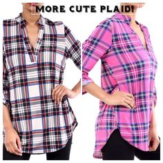 MORE CUTE PLAID SHIRTS! Fuschia or white pullover shirt tail shirts are in and they are precious! With v-necks, collars and the length to wear with leggings, you'll love them! 92% spandex, 8% spandex. Measurements upon request. PLEASE DO NOT BUY THIS LISTING, I will personalize one for you. tla2 Tops