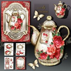 Brass Vintage Teapot with Red Roses on Craftsuprint designed by Atlic Snezana - Brass Vintage Teapot with Red Roses: 5 sheets for print with decoupage for 3D effect plus sentiment tags (for your own personal text) - Now available for download!