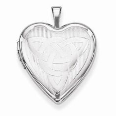 "NEW 925 STERLING SILVER POLISHED HEART LOCKET 3.45g PENDANT .80"" X .80"" TRINITY #Locket"