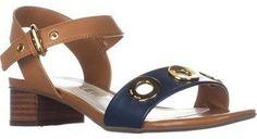 Anne Klein Ellamae Ankle Strap Sandals, Cognac/navy.
