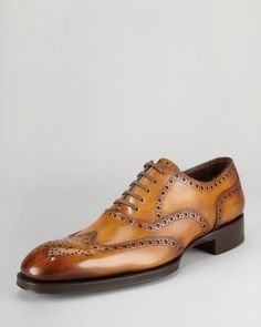 Tom Ford Edward Brogue Wing-Tip - Neiman Marcus Tom Ford never disappoints Me Too Shoes, Men's Shoes, Shoe Boots, Dress Shoes, Shoes Men, Hot Shoes, Sharp Dressed Man, Well Dressed Men, Tom Ford