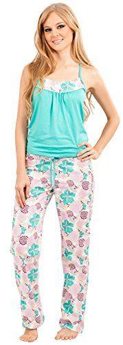 Adriana Arango Women Pajamas Top Pants Sleepwear Set Gree...