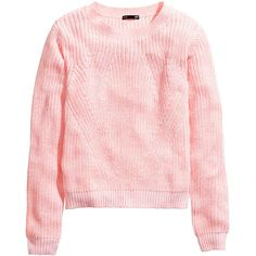H&M Knitted jumper (91 SEK) ❤ liked on Polyvore featuring tops, sweaters, light pink, pink top, h&m, h&m sweater, pink jumper y light pink top