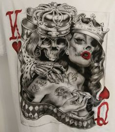 Pschobilly Zombie Skull Playing Card King Queen Pin-Up Tattoo Style Art T-Shirt King Queen Tattoo, King Tattoos, Pin Up Tattoos, Tattoos For Guys, Foot Tattoos, Skull Couple Tattoo, Sugar Skull Tattoos, Couple Tattoos, Sketch Tattoo Design