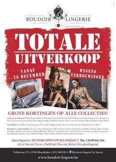 Totale uitverkoop Boudoir Lingerie  -- Meulebeke -- 26/12-13/01
