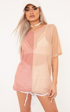 26 Rose/Nude Mesh Contrast T-ShirtSheer genius! Girl we are lovin' this contrast Tee, in a on-trend ...