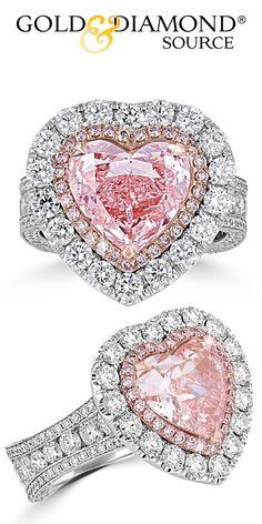 Gold & Diamond Source Has Tampa Bay's Largest Selection Of Fancy Colored Engagement Rings Under One Roof. Find The Perfect Fancy Colored Engagement Ring Today. Pink Diamond Jewelry, Pink Diamond Engagement Ring, Unusual Engagement Rings, Vintage Diamond Rings, Pink Jewelry, Heart Jewelry, Cute Jewelry, Jewelry Rings, Heart Shaped Diamond Ring