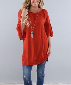 Another great find on #zulily! Burnt Orange Crepe Tunic #zulilyfinds