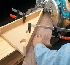 Acute Angle Jig for a Miter Saw  The jig is made with the two faces meeting at a 30° angle. This extra 30° allows you make miter cuts of up to 75°.  When using the jig, you should always clamp it securely to the saw fence (or auxiliary fence) and also use a clamp to hold the workpiece in place. Could've used this just yesterday.