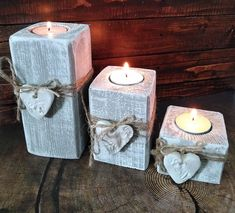 Fast And Straightforward Children Xmas Craft Concepts - DIY Ideas Grey Candles, Rustic Candles, Tea Light Candles, Tea Lights, Grey Candle Holders, Wooden Tea Light Holder, Christmas Crafts, Christmas Decorations, Christmas Candles