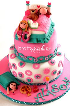 Slumber PARTY CAKE IDEAS. Like the idea of holding the number.