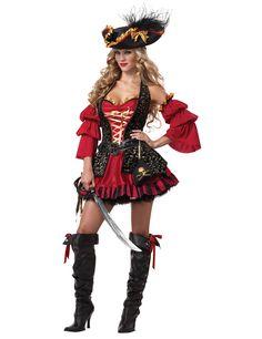 Déguisement Pirate pour femme - Premium : Ce déguisement de Pirate pour femme se compose d'une robe, de 2 manches, d'un chapeau, d'une ceinture et d'une bourse (sabre, jupon et bottes non fournis). La robe courte et...