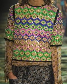 patternprints journal: PRINTS, PATTERNS AND SURFACE EFFECTS: BEAUTIFUL DETAILS FROM PARIS FASHION WEEK (WOMAN COLLECTIONS SPRING/SUMMER 2015) /  Dries Van Noten