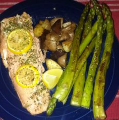Friday's dinner - Baked salmon, roasted potatoes and Humongous asparagus! :) #yum #dinner #fridaynight #happybelly #delicious