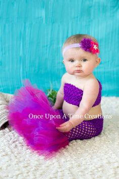 Purple Princess Fishtail Tutu Set - Baby Guppies Girl Size Newborn 3 6 9 12 Months - Under The Sea Kids Toddler Mermaid Birthday Outfit Toddler Mermaid Costumes, Toddler Costumes, Baby Costumes, Mermaid Birthday Outfit, Mermaid Outfit, Old Halloween Costumes, Newborn Girl Halloween Costumes, Hawaiian Party Decorations, Twin Birthday Parties