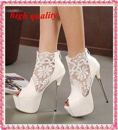 (31.90$)  Watch here  - lace summer boots party fashion shoes woman sexy open toe high heels platform pumps women high heels white black pumps Y543