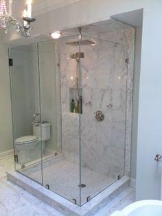 Custom framless three-sided shower Pleasantville, N.Y. Westchester
