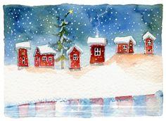 Anita Polkutie Christmas Tree Quilt, Christmas Blocks, Christmas Tale, Vintage Christmas, Watercolor Christmas Cards, Watercolor Cards, Watercolor Illustration, Watercolor Paintings, Christmas Clipart