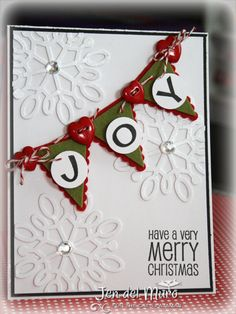 I Heart 2 Stamp Card. Idea for pennant punch Christmas card Homemade Christmas Cards, Christmas Cards To Make, Very Merry Christmas, Xmas Cards, Homemade Cards, Handmade Christmas, Holiday Cards, Christmas Crafts, Christmas Scrapbook