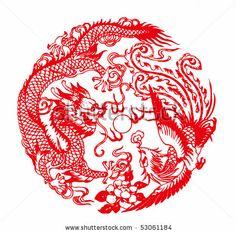 Chinese paper cutting - Auspicious Dragon and Phoenix pattern by windmoon, via ShutterStock