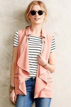 Rose Drape Vest  #anthropologie.  Love this little vest to add a feminine flair to a menswear style.