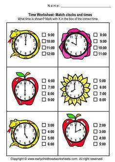 Printable Clock Worksheets For Kindergarten Kindergarten Math Worksheets, School Worksheets, Preschool Printables, Preschool Math, Math Resources, Math Activities, Clock Worksheets, Teaching Time, Teaching Math