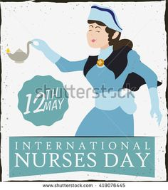 Beauty nurse wearing classic uniform and holding up a oil lamp in her hand in retro poster.