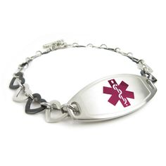 Pre-Engraved /& Customizable Peanut Allergy Medical Alert Bracelet Steel /& Black Hearts My Identity Doctor Red