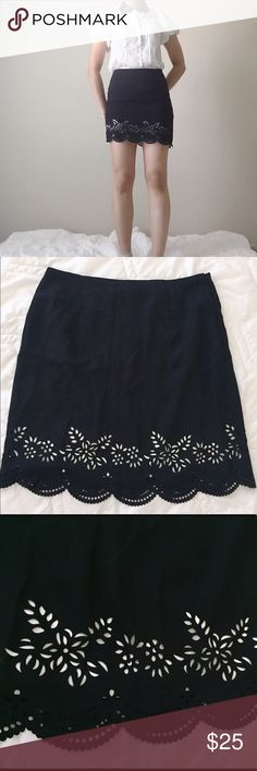 """NEW black scalloped hem H skirt NEW black chiffon scalloped skirt. Elegant and beautiful! Scalloped hem with punched details. There is a ivory lining inside. H line skirt with side zipper. Not stretchy. Size:XS total length: 16"""", waist: 13.5"""" across, hip: 17"""". NOT from listed brand. Feel free to ask any questions if you have. Thank you 😊 Zara Skirts Mini"""